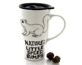 SALE Squirrel travel mug Fall Autumn Harvest woodland animals ceramic mug
