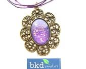 Space Opera Flower Shaped Nail Polish Pendant Necklace - Nail Polish Jewelry