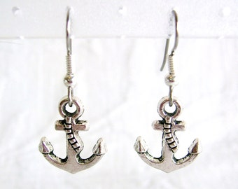 Small Anchor Pierced or Clip On Earrings