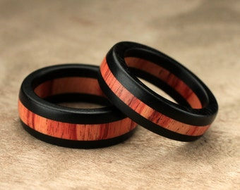 Ebony Tulipwood Ring Set - 7mm & 6mm