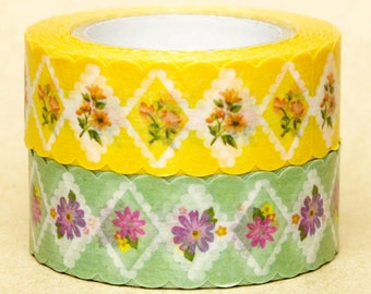 NamiNami Washi Masking Tape - Lace Flowers in Yellow & Green