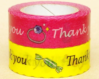 NamiNami Washi Masking Tape - Thank You in Pink & Yellow