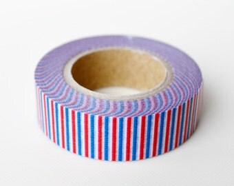 mt Washi Masking Tape - Tricoloure in Red, Blue & White Stripes - Limited Edition (15m roll)