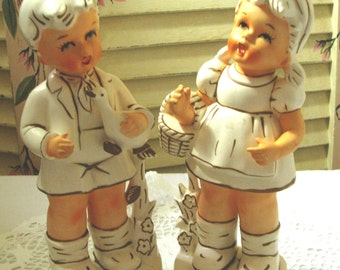DARLING - Vintage Porcelain Figurines - Set - Boy and Girl - Hand Painted - Relco - Made in Japan - (Credit Cards Accepted)