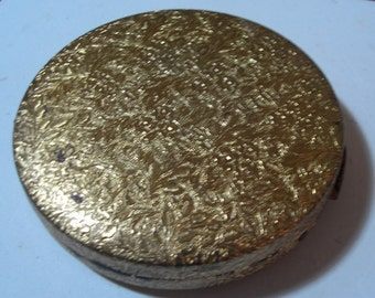 Vintage Gold Toned  Metal Compact with Mirror - Purse Accessory - 1960 Era