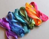 Rainbow Mix - 6 metres of 13mm silk ribbon