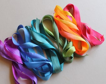Rainbow Mix - 6 metres of 13mm silk ribbon