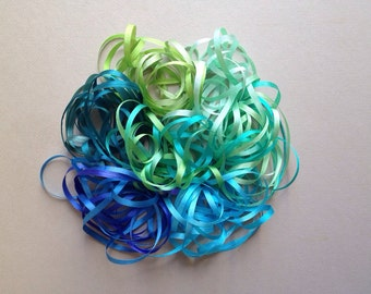 Tropical Sea Mix - 14 metres of 3.5mm silk ribbon