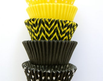 ASSORTED Yellow and Black Cupcake Liners Standard Size 50 per pack