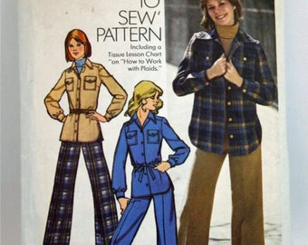 Vintage 1970, Sewing Pattern,Simplicity 5854, Misses' Size 12, Unlined Shirt-Jacket and Pants
