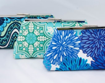 Set of (3) Blue Bridesmaid Clutches in Design your own gift set for bridesmaids in various patterns and shades of blue