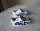 Pair Of Vintage Delft Blue Dutch Shoe Ashtrays