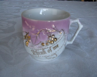 "Vintage ""Think Of Me"" Cup Mug Made in Germany Pink,White with Gold Details"