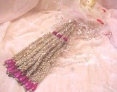 Vintage Tinsel Christmas Tassel with 18 Iridescent Glass Beads HTF