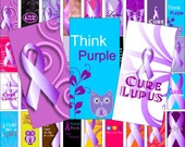 Lupus  awareness size 2 x 1 inches for pendant, scrapbook and more - Digital Collage Sheet No.1292
