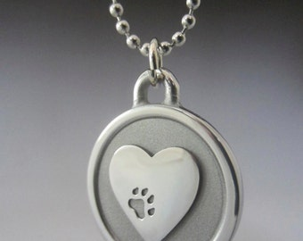 Paw On My Heart Engravable Stainless Steel Necklace