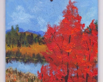 Autumn Aspens Red Trees Mountains Rocks Painting Wood Hand Painted Ornament Art  2 in 1