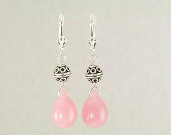 Light pink Czech glass earrings, pink teardrop earrings, Bali silver earrings, rose pink bridesmaid jewelry