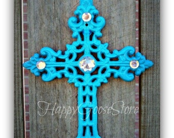 Wall Cross - Iron & Rhinestones - TURQUOISE (or your color choice)