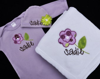 Personalized Flower Baby Gown Hat and Blanket Set / 3 Piece Set