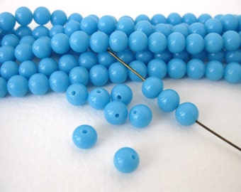Vintage Japanese Beads Cherry Brand Blue Turquoise Glass Rounds 6mm vgb0696 (15)