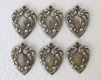 Antiqued Silver Ox Heart Charm Embossed Victorian Style 17mm chm0219 (6)