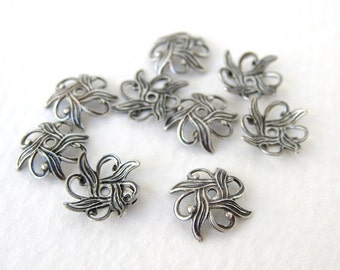 Antiqued Silver Ox Filigree Nouveau Flower Bead Cap Plated Brass Vintage Style 10mm bcp0026 (8)