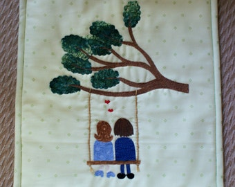 Love on a Swing appliqued quilt wall hanging - engagement gift