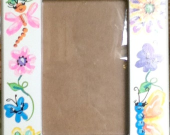 Picture Frame Funky Flowers Theme Handpainted and Personalized 4 x 6