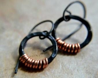 Black copper earrings, hammered metal, hand forged rings, metalwork, autumn rustic minimalist - Enceladus