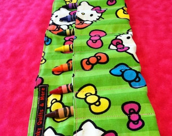 Hello Kitty Crayon Roll w/ Pink Ribbon and 8ct Crayola Crayons