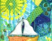 Sailboat, Art Print, Lake, Ocean, Sea, Sailing, 8x10 wall decor, Orange Boat, Blue Green Water