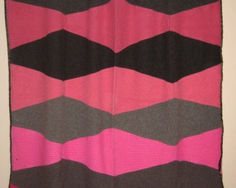 Blanket - Recycled Wool Sweaters - Pink Diamonds - by FeltSassy