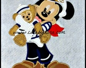 Captain Mouse and Bear Applique Embroidery Design