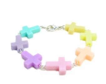 Pastel Goth Bracelet Multicolored Cross Jewelry Pastel Colored Creepy Cute Bracelet