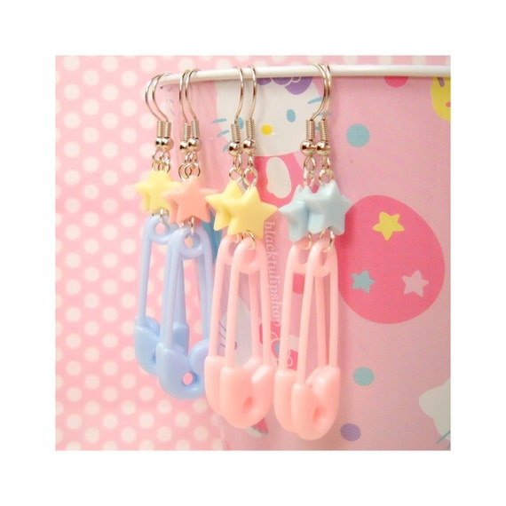 Fairy Kei Pastel Star Safety Pin Earrings Light Pink Blue Yellow - You Choose