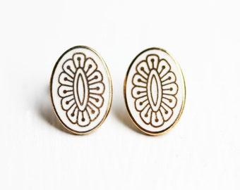 White and Gold Oval Studs