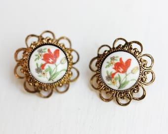Red Flower Filigree Earrings