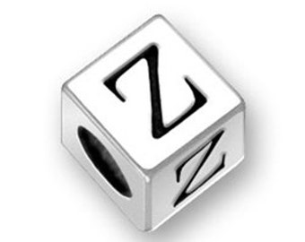 4.5mm Square Letter Z bead Sterling Silver, Alphabet Beads