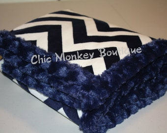 Navy and White Chevron Minky Blanket with Navy Minky Swirl Backing and Edging...Last Minute Gift Idea..