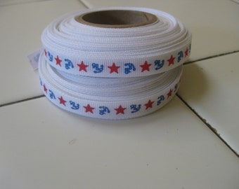 Ribbon, vintage grosgrain novelty print stars and anchors, 2 rolls, one price 1940's