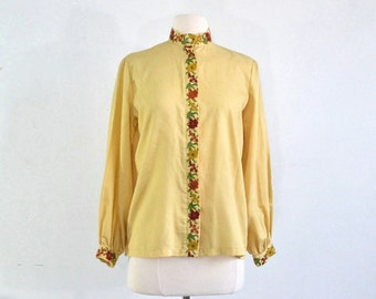 70s Vintage Embroidered Blouse Hippie Festival Shirt - large