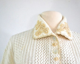 1950s Vintage Cardigan Sweater with Embroidery and Applique