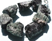 RARE & RAW Forest Green Tourmaline Large Druzy Nuggets - 1/2 Strand