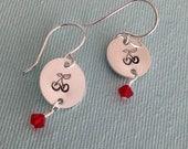 Cherries Hand Stamped Sterling SIlver Earrings