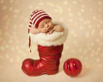 Little Elf Stocking Cap - newborn baby Christmas photo prop