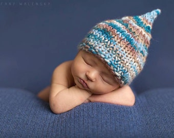 Blue and Brown Argentinian Wool Pixie Hat - newborn baby photo prop