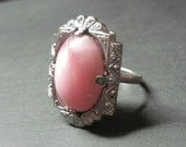 Vintage Art Deco Ring - Pink - Size 6.25 - Dinner Ring - Cocktail Ring - Costume Ring - Antique - 1920s - WickedDarling