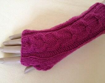 Luxury Hand Knitted Soft Merino Wool Fingerless Gloves/Mittens Arm Wrist Warmers, Cherry Down (Deep Pink)
