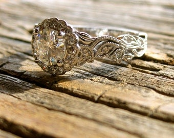 Forever Classic Moissanite Engagement Ring in 14K White Gold with Diamonds in Flower Buds and Leafs on Vine Motif Size 6